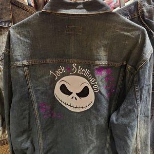 DKNY Upcycled Denim Jacket Jack Skellington